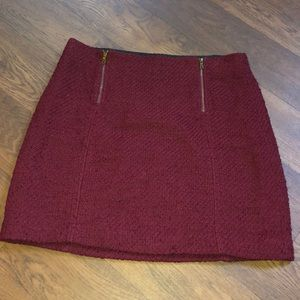 MAROON/RED LOFT SKIRT WITH ZIPPERS